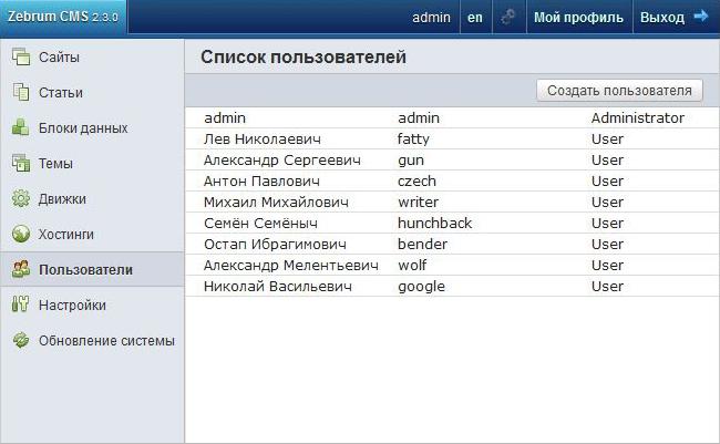 Список пользователей Zebrum CMS